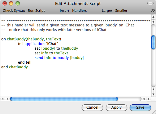 The Attachments Script Editor